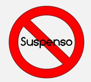 Cartel que ilustra la prohibición de suspender en el colegio