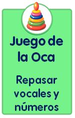 Recursos para descargar de Educación Infantil, juego de la Oca para repasar las vocales, los números y las formas geométricas