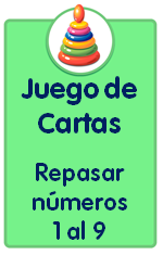 Recursos para descargar de Educación Infantil, juego de cartas para repasar los números del 1 al 9