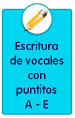 Recursos para descargar de Educación Infantil como estas fichas de escritura de las vocales A E con puntitos