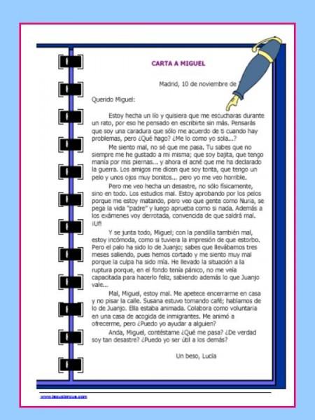 La carta a Miguel actividad sobre la autoestima