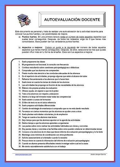 Documento para la autoevaluación docente