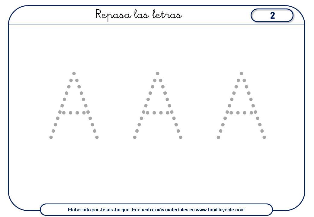 Ficha de escritura de la A con puntitos tamaño grande