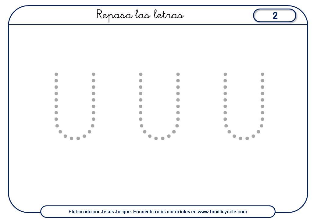 Ficha de escritura de vocales punteada U mayúscula