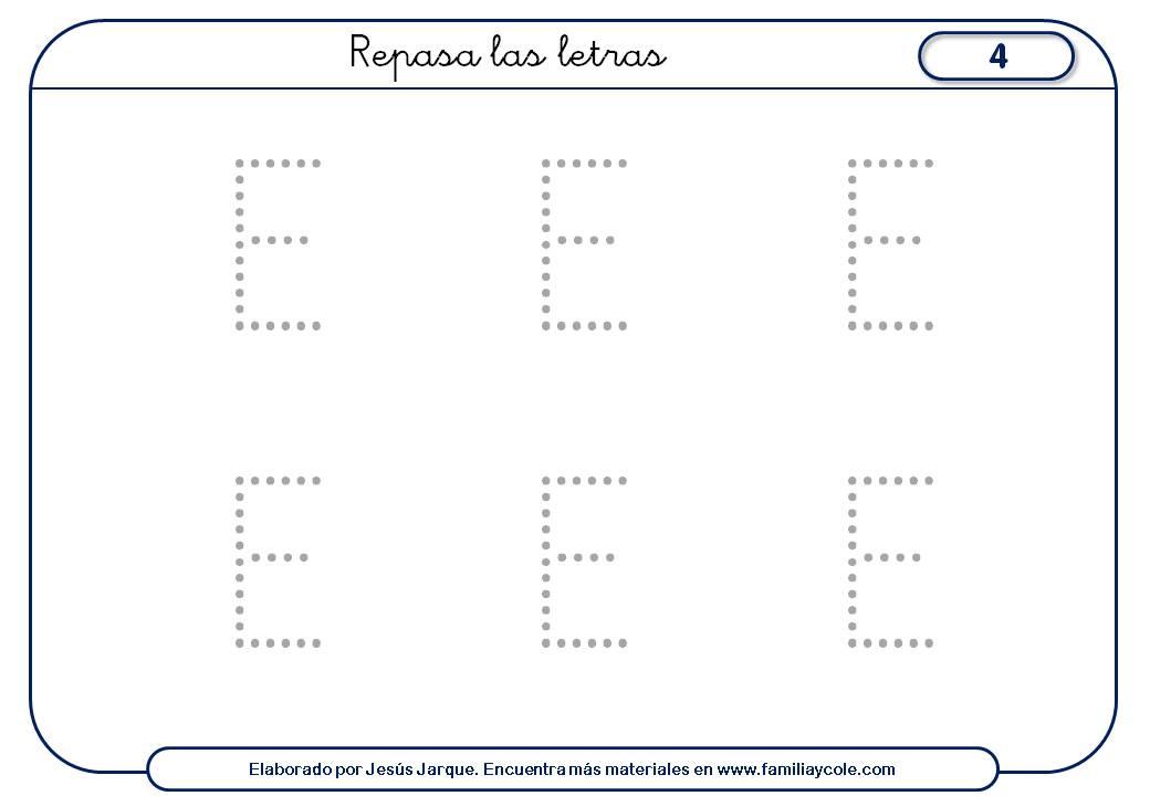 Fichas escritura de vocales con puntitos, letra E mayúscula