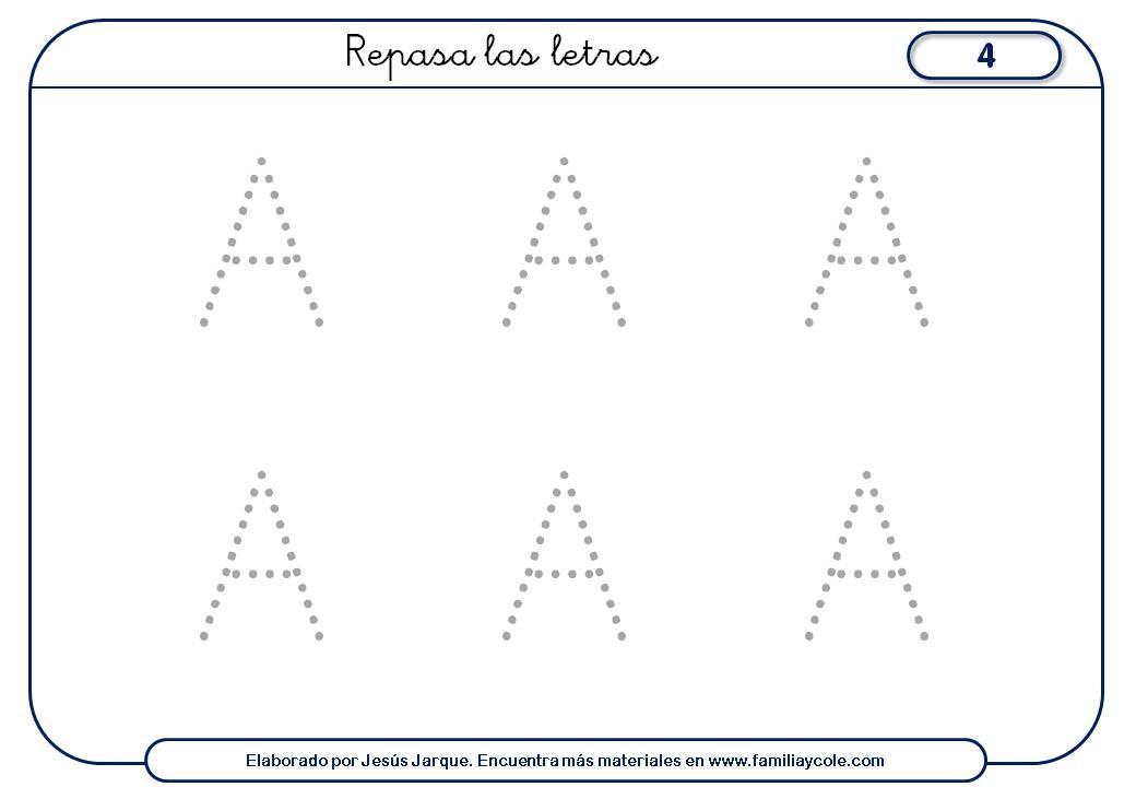Ficha de escritura de la A con puntitos, seis letras