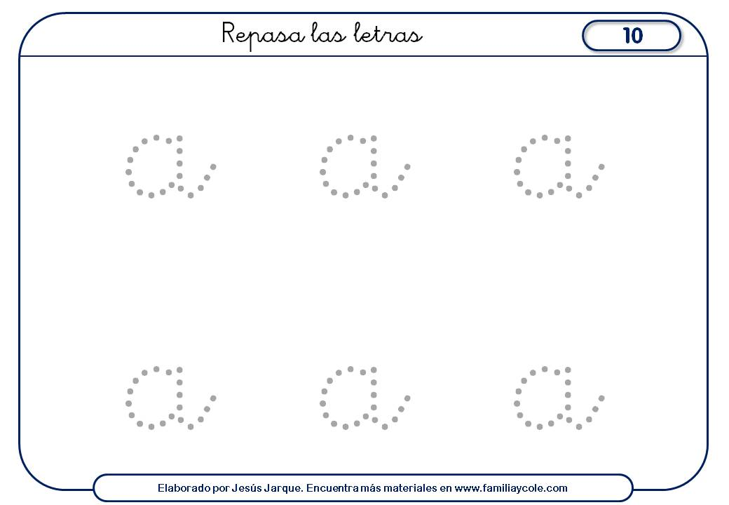 Fichas de escritura de vocales: la a minúscula para repasar con puntitos