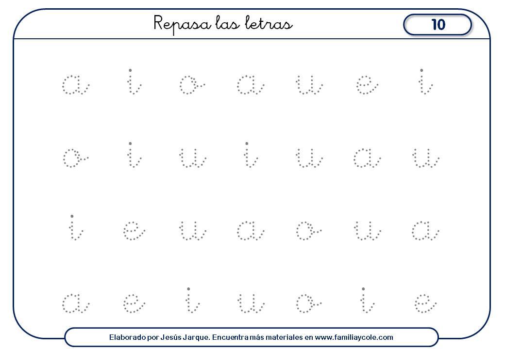 Fichas de escritura de vocales con puntitos repaso general