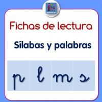 fichas de lectura de sílabas y palabras con P, L, M, S