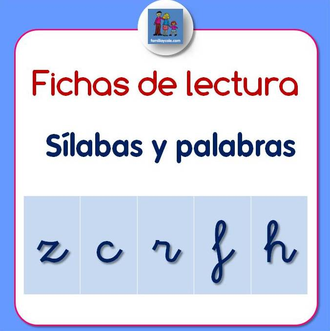 Fichas de lectura de sílabas y palabras con z, c, r, f, h