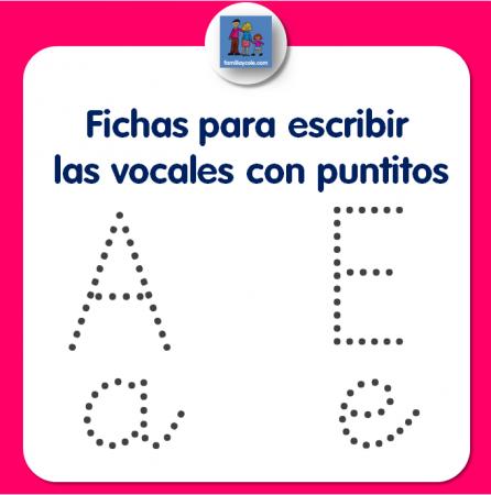 Fichas de escritura de vocales con puntitos, A, E