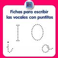 Fichas para escribir las vocales I O con puntitos