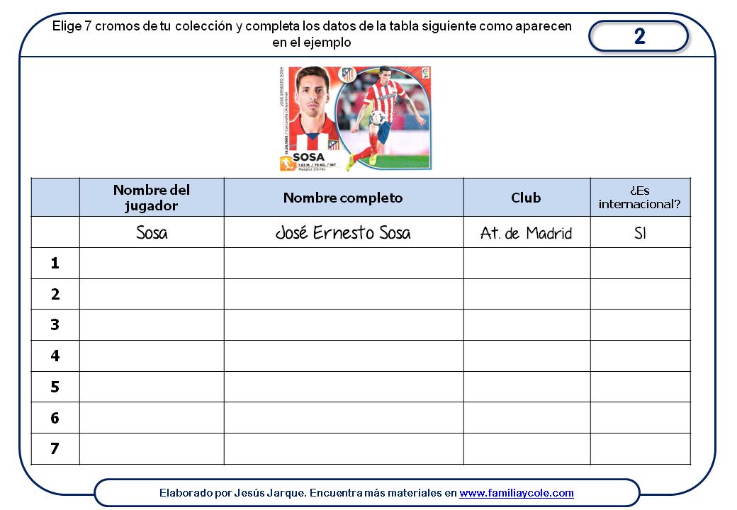 Ficha para descargar con actividades sobre los cromos de la liga, completar tabla de datos