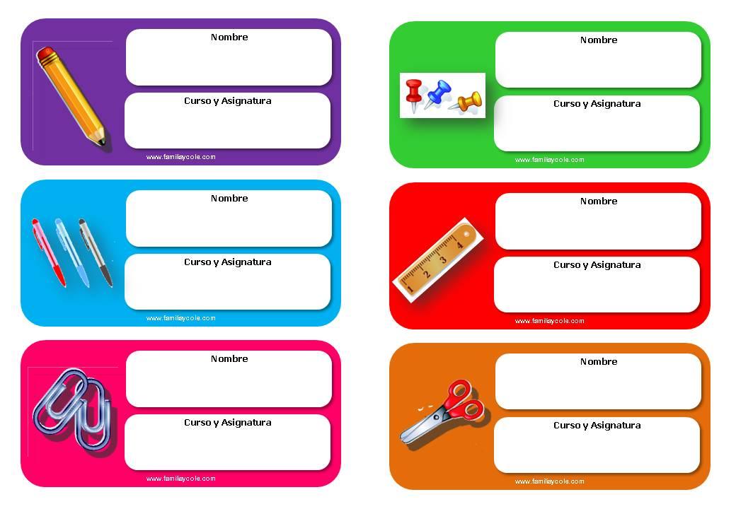 Modelos de etiquetas escolares para descargar gratis
