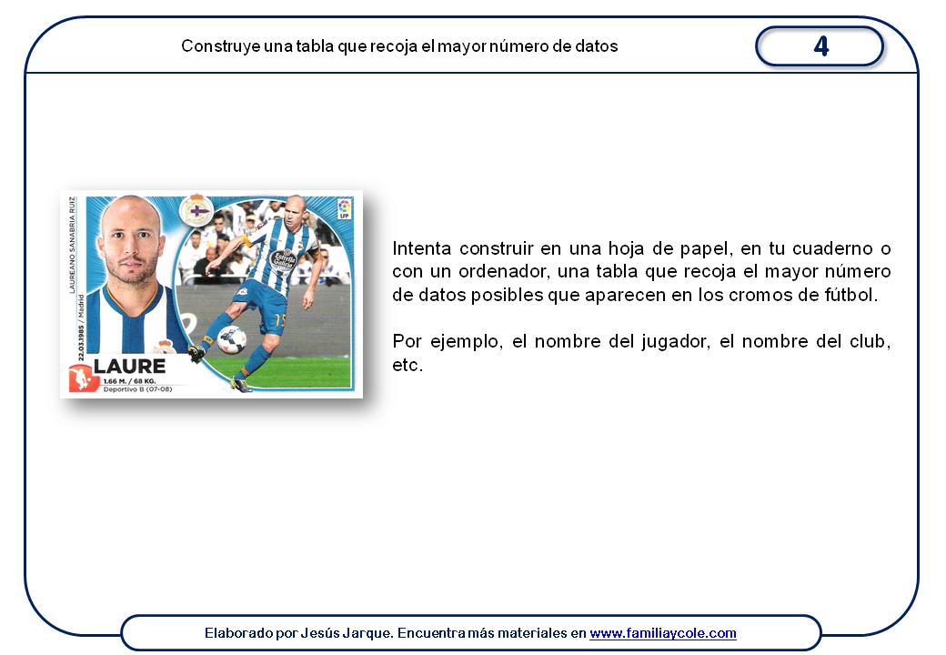 Ficha para realizar actividad con los datos de los cromos de fútbol
