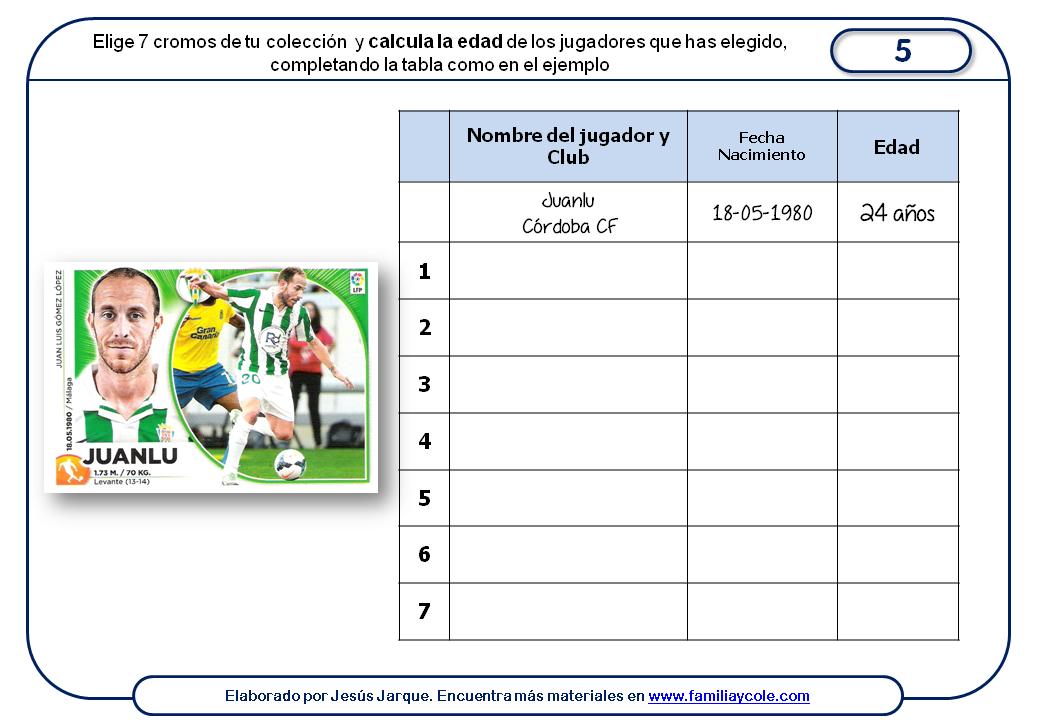 Ficha con actividad sobre las competencias clave a partir de los cromos de fútbol