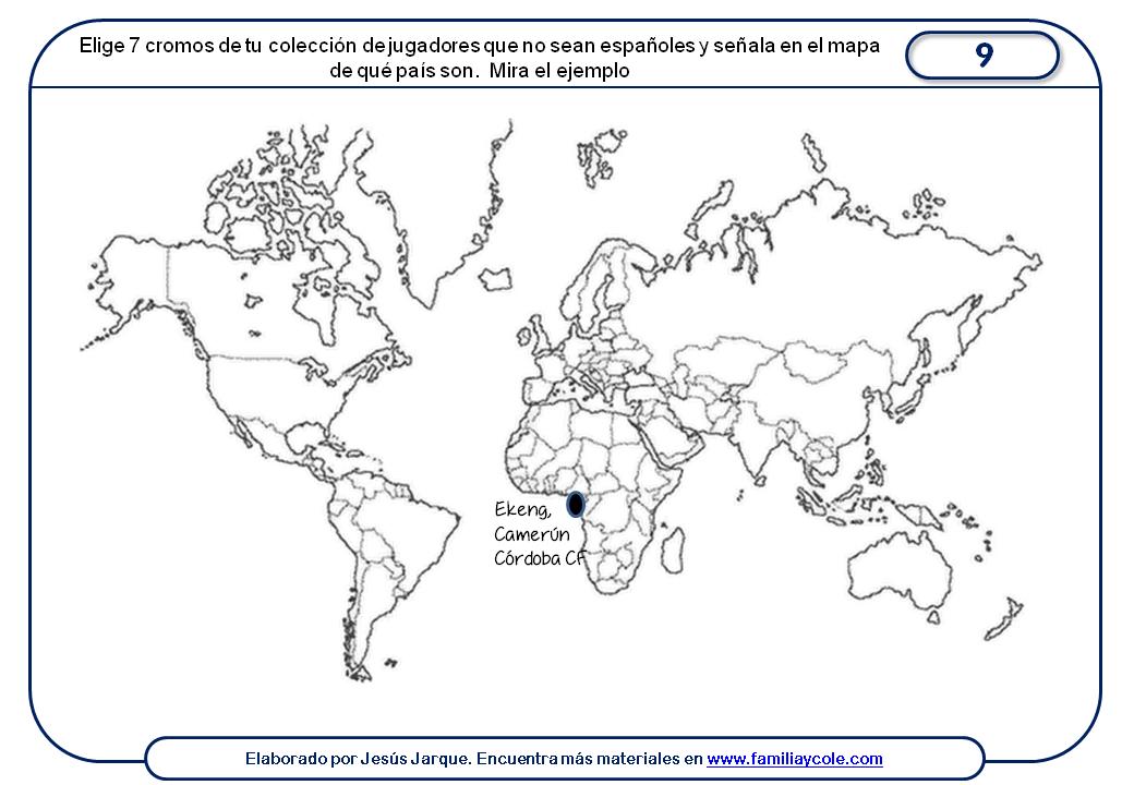 Ficha para trabajar mapa mundi con los cromos de la liga de fútbol