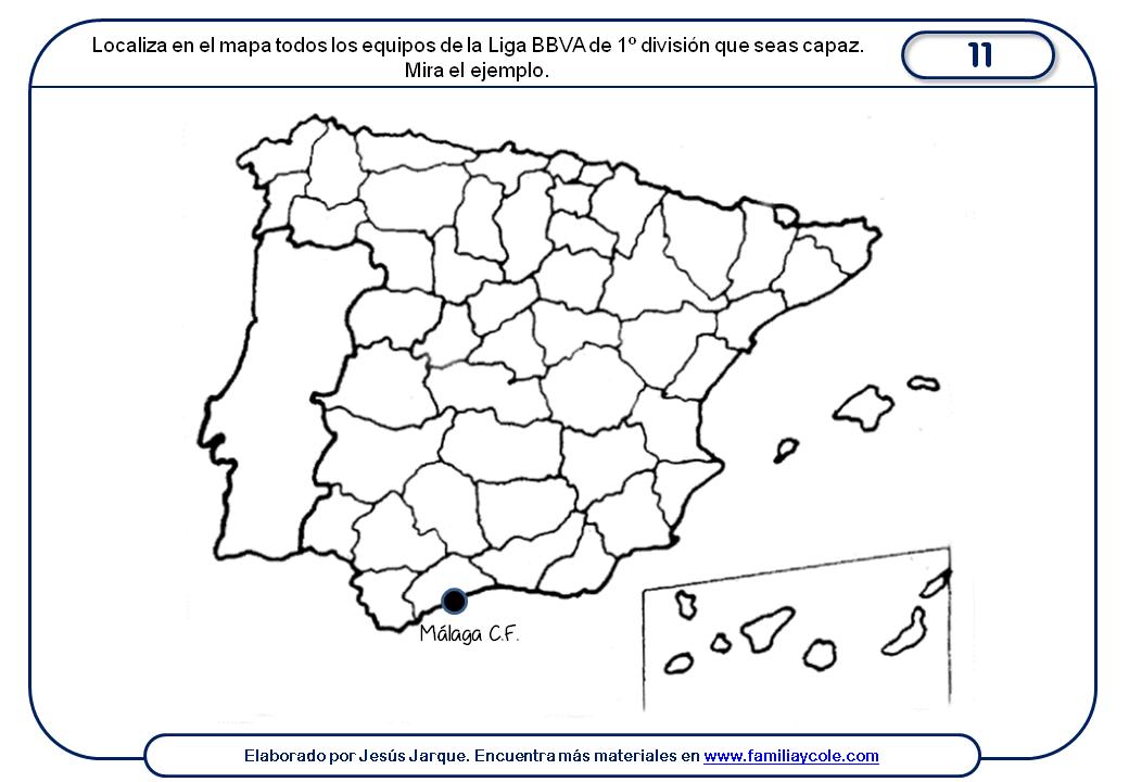 Ficha para localizar los clubes en un mapa mudo de España