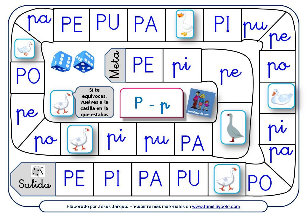 Juegos de la Oca para aprender a leer dedicado a las sílabas con el grafema P