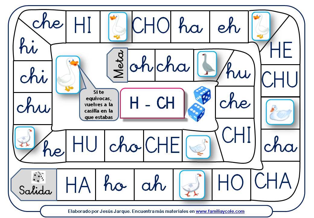Juego de la oca para aprender a leer sílabas directas con la letra H y CH
