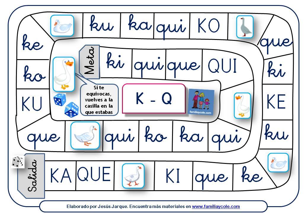 Juegos de la Oca para repasar la lectura de sílabas con la K y la letra QU