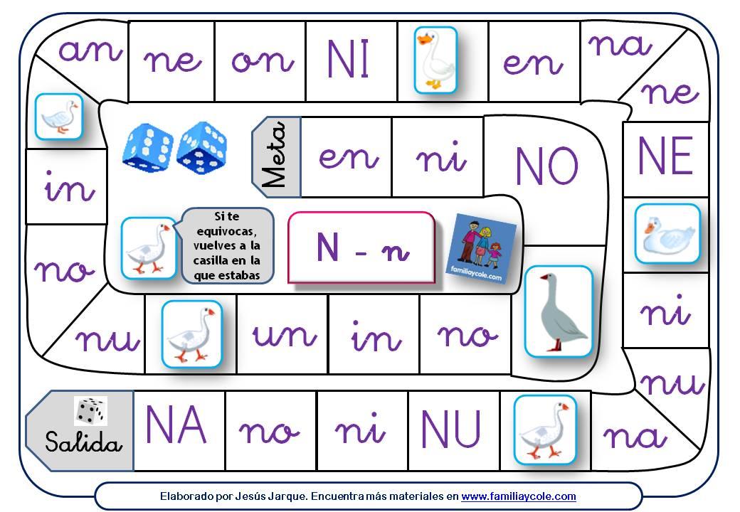Juego de la oca para aprender a leer sílabas directas e inversas con la letra N