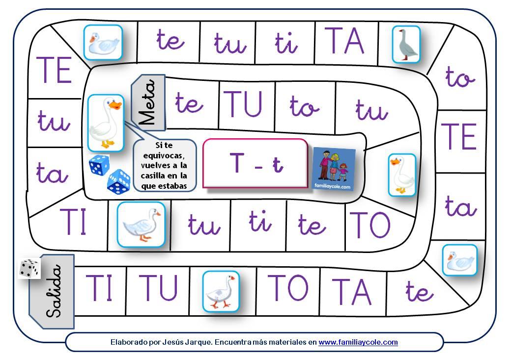 Oca para aprender a leer sílabas con la letra T