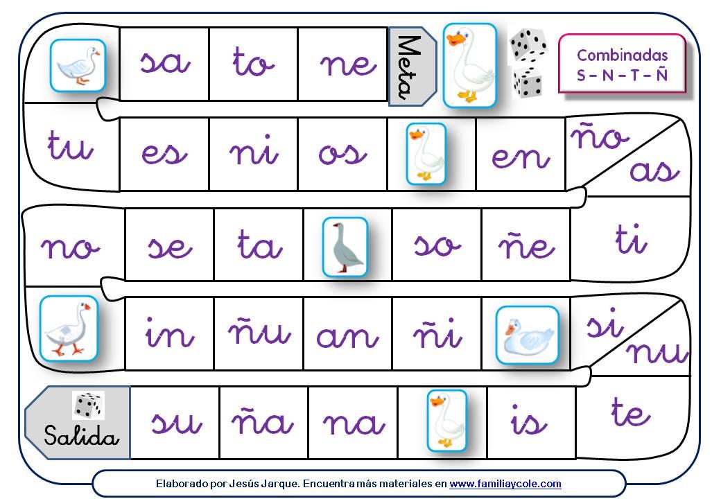 Oca para reforzar la lectura de sílabas con la S, N, T, Ñ