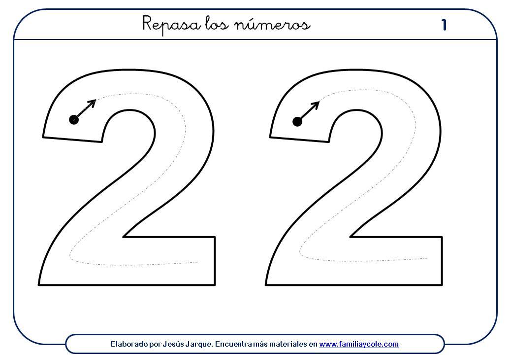 ejercicios para escribir números, el dos, tamaño extragrande