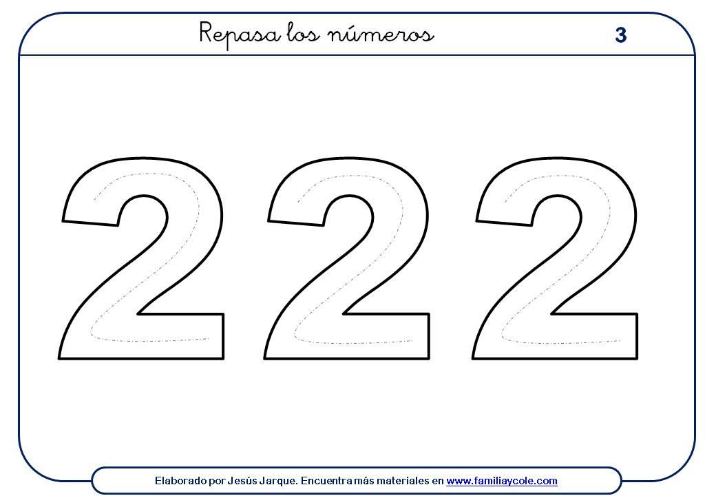 ejercicios para escribir números, el dos, tamaño grande