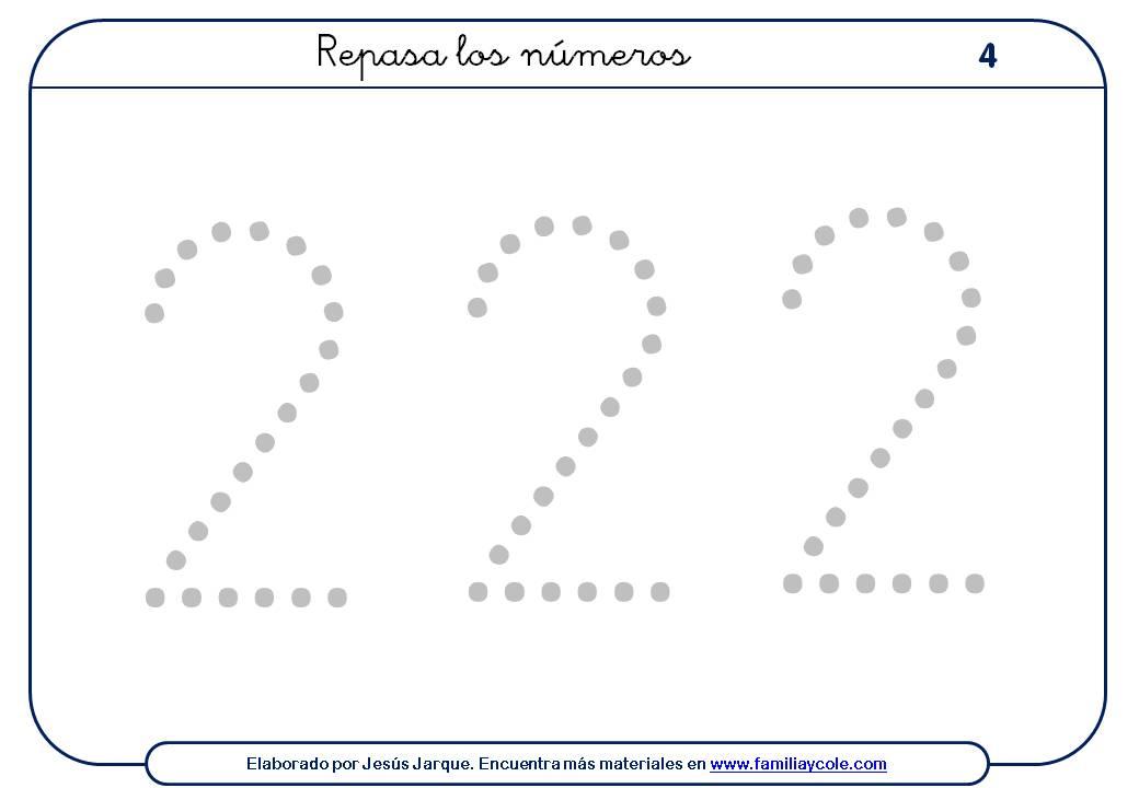 ejercicios para escribir numeros, el dos, tamaño grande con puntitos