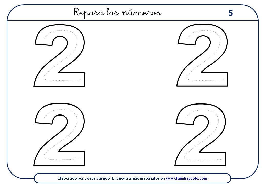 ejercicios para escribir números, el dos, tamaño, medio