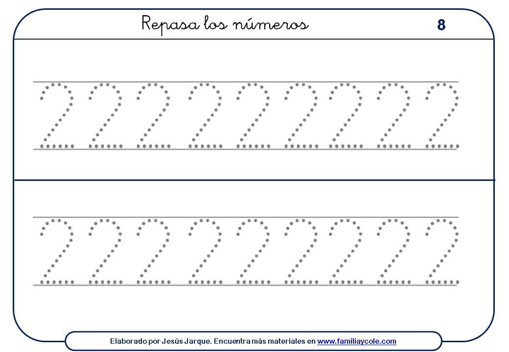 ejercicios para escribir números, el dos, con puntitos