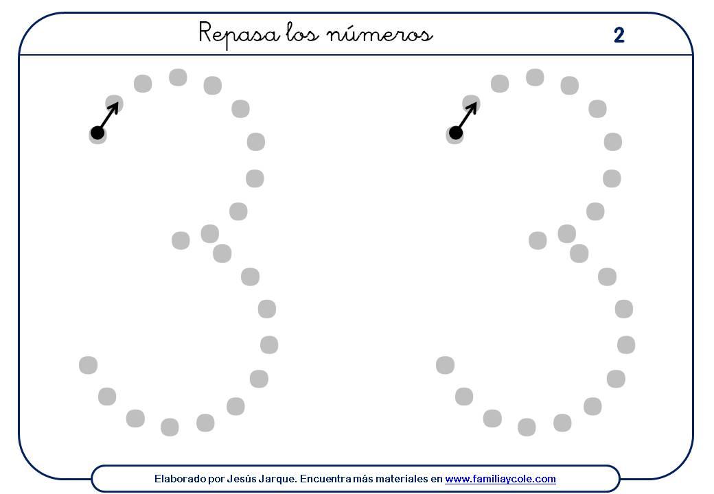 ejercicios para escribir números, el tres, extra grande con puntitos