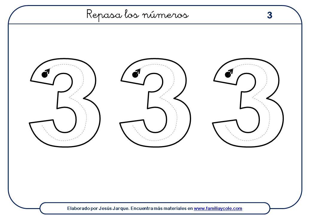 ejercicios para escribir números, el tres, tamaño grande