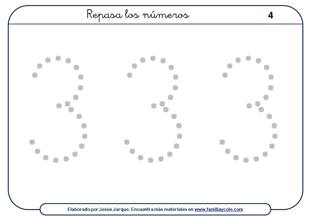 ejercicios para escribir números, el tres, grande con puntitos