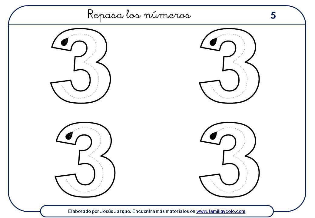 ejercicios para escribir números, el tres, tamaño medio