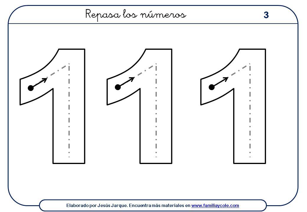 Ejercicios para escribir números, el uno en tamaño grande, rellenar el interior