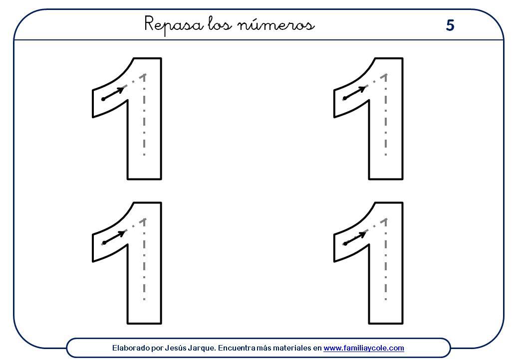 Ejercicios para escribir números, el uno tamaño grande, cuatro números por ficha