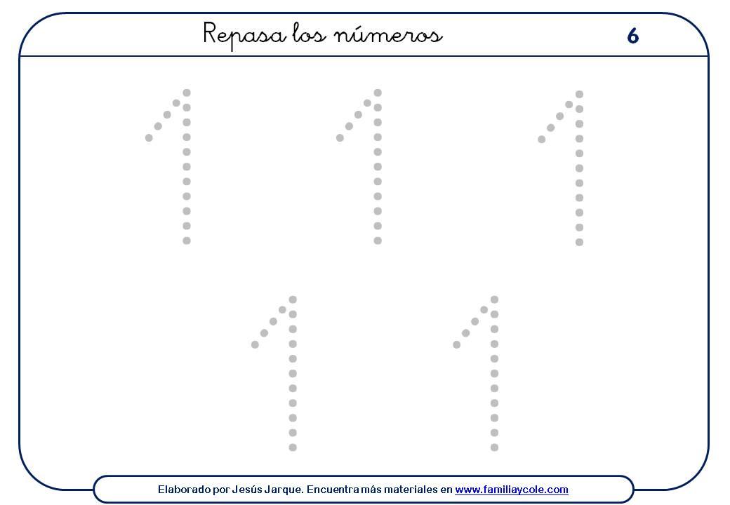 Ejercicios para escribir números, el uno tamaño grande, con puntitos, cinco números en la ficha