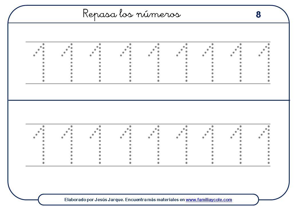 Ejercicios para escribir números, con puntitos, tamaño medio