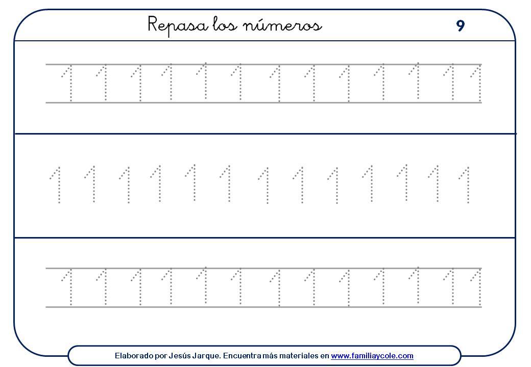 Ejercicios para escribir números, con puntitos