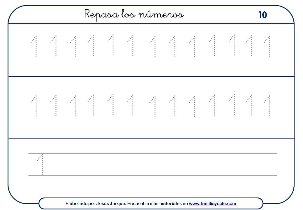 Ejercicios para escribir números, con puntitos y sin ellos