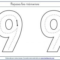 Fichas para escribir números, el nueve en tamaño extragrande