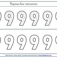 Fichas para escribir números, el nueve en tamaño grande