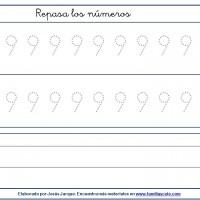 Fichas para escribir números, el nueve en tamaño grande con puntitos