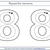 Fichas para escribir números, el ocho en tamaño extragrande