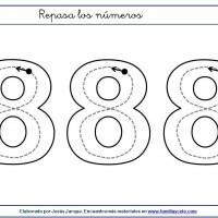 Fichas para escribir números, el ocho en tamaño muy grande