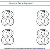 Fichas para escribir números, el ocho en tamaño grande