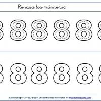 Fichas para escribir números, el ocho en tamaño medio